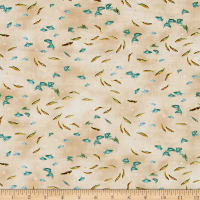 QT Fabrics So Many Fish, So Little Time Small Fish Cream