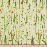 QT Fabrics Hummingbirds Reed Stripe Light Yellow