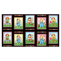 "QT Fabrics Mary's Fairies Patches 24"" Panel Black"