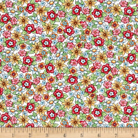 QT Fabrics Mary's Fairies Packed Flowers White