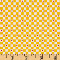 QT Fabrics Mary's Fairies Check Yellow