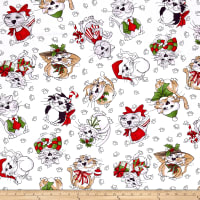 Loralie Designs Kitty Kitty Christmas Blizzard White