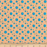 Rihan Jersey Knit Aqua Assorted Polka Dots on Tan