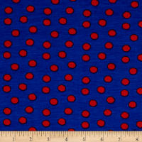 Rihan Jersey Knit Red Polka Dots on Navy