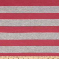 Yarn Dye Jersey Knit Stripe Rouge Pink/Light Grey
