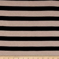 Rihan Spandex Jersey Knit Stretch Black Stripe Taupe