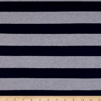 Yarn Dye Jersey Knit Stripe Navy/Light Grey