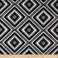 Rayon Challis Large White Diamond Deco Print on Black