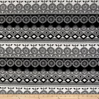 Rayon Challis Aztech Black Round Medallion on White