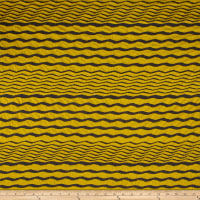 Double Knit Jacquard Mustard/Charcoal Stripped Waves