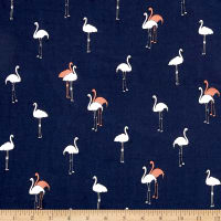 Telio Rayon Voile Flamingos on Navy