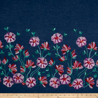 Telio Denim Floral Embroidery Single Border Pink/Purple/Teal