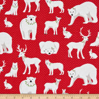 Contempo Nordic Holiday White Animals Red