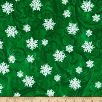 Kanvas Winter Story Snowflake Scroll Green