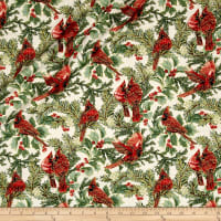 A Festive Season Metallic Birds in Bough Nestled Cream