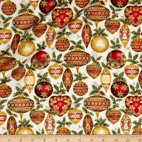 A Festive Season Metallic Festive Ornaments Cream