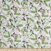 Wilmington Frosted Holiday Sprigs Allover Gray
