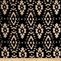 Poly Spandex ITY Knit Ikat Black/Tan