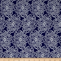 Floral Stretch Lace Royal Blue/White