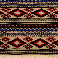 Rayon Spandex Jersey Knit Tribal Tan/Red/Blue