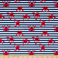 Michael Miller Minky Whales Crabby Stripe Navy