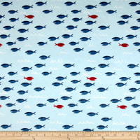 Michael Miller Minky Whales Fish Fiesta Light Blue