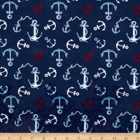 EZ Fabric Minky Whales Anchors Toss Navy