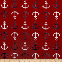 EZ Fabric Minky Whales Anchors Straight Red