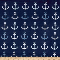 Michael Miller Minky Whales Anchors Straight Navy
