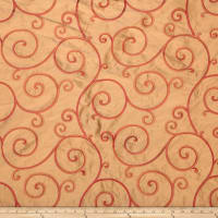 Fabricut Rossum 100% Silk Embroidered Garnet