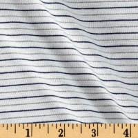 Jersey Knit Stripe White/Navy Silver