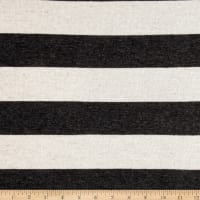 Sweater Knit Stripes Charcoal/Ivory