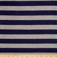 Sweater Knit Navy/Light Gray Stripes