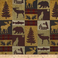 Fairbanks Cabin Patch Chenille Jacquard Evergreen