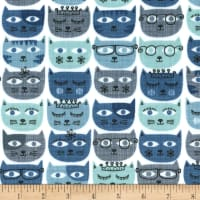 Michael Miller Minky Sassy Cats Blue