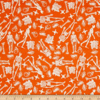 Riley Blake EEK Boo Skeleton Orange