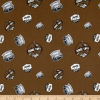 Riley Blake Jeep Badges Brown