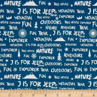 Riley Blake J is for Jeep Words Blue