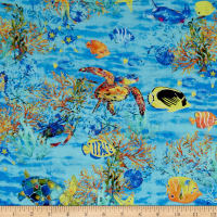 Under the Sea Digitally Printed Sealife Light Blue