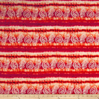 Rayon Challis Tye Dye Paisley Orange/Fuschia/Tan