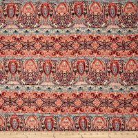 Rayon Challis Paisley Orange/Cobalt/Tan