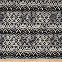 Rayon Challis Abstract Ikat Black/ White/Ivory