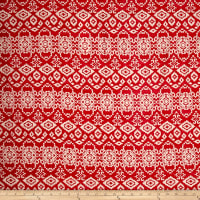 Rayon Challis Red/Ivory