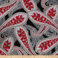 ITY Stretch Jersey Knit Large Paisley Black/White/Red