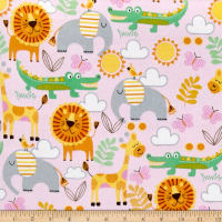 Comfy Flannel Zoo Animals Pink