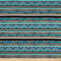 Venezia Spun Poly Jersey Knit Ethnic Stripe Brown/Blue