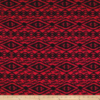 Venezia Spun Poly Jersey Knit Abstract Black/Red
