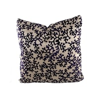 "18"" x 18"" Charleston Coral Throw Pillow Velvet Navy"