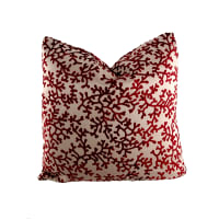 "18"" x 18"" Charleston Coral Throw Pillow Velvet Burgundy"