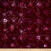Bali Handpaints Batiks Petals & Vines Graphic Floral Bordeaux